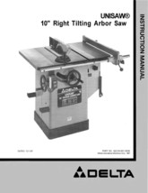 Delta Table Saw Model 34-761 Instruction  Manual - $10.88