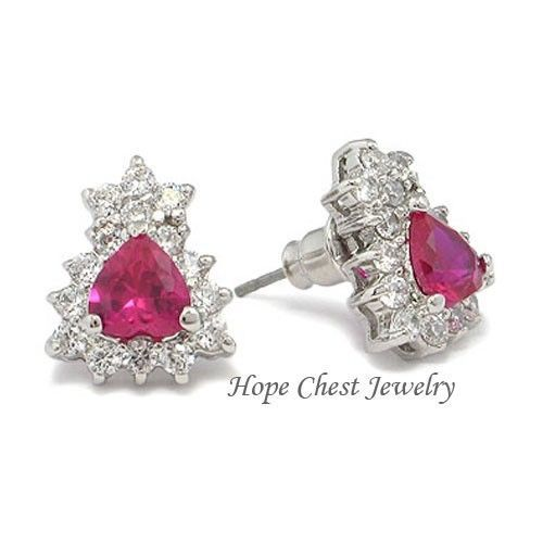 Primary image for HCJ July Birthstone Silver Tone Heart Shape Ruby Red CZ Stud Earrings