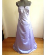 David's Bridal Lavender Empire Bridesmaid Formal Evening Gown Decorated ... - $38.56
