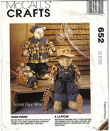 McCalls Crafts 652 Gone Fishin' Stuffed Cats, Kittens & Clothes Uncut - $6.99