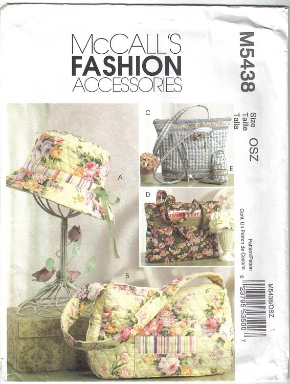 McCalls Pattern M5438 Fashion Accessories Handbag Totes Hat and Cell Phone Case - $6.99
