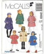McCalls 2403 Girls' Unlined Coats & Hat Sizes 4, 5 & 6 Uncut - $6.99
