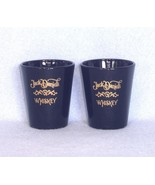 Jack Daniels 2 Shot Glasses Gold Lettered Black Glass Libbey - $6.99