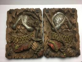 Lot of 2 vintage Musketeer 12 x 15 HOMCO resin wall art - fake wood 1960-70s - $85.45