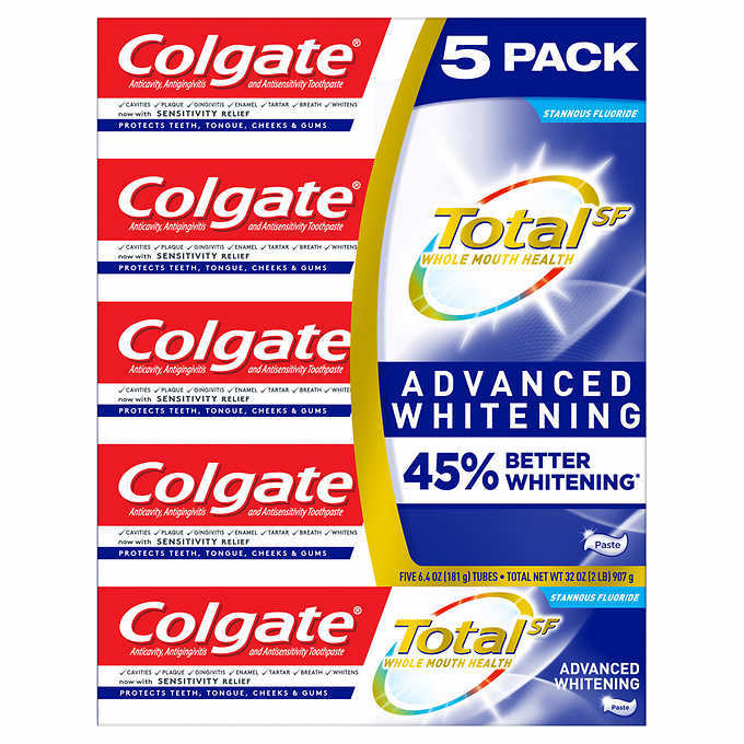 Primary image for Colgate Total SF Stannous Flouride Advanced Whitening Toothpaste 5-pack 6.4oz ea
