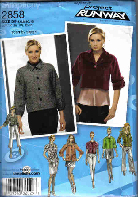 Simplicity 2858 Project Runway 4 6 8 10 12 short Jacket