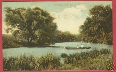 LAPEER MI Flint River boat Michigan 1912 Postcard BJs