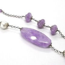 925 Silver Necklace, Amethyst, Oval and Disk, Pearls, Length 80 cm image 3