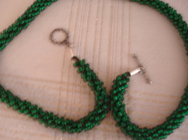 Kumihimo Beaded Necklace 21.75 inches In green, silver-lined glass beads - $65.00