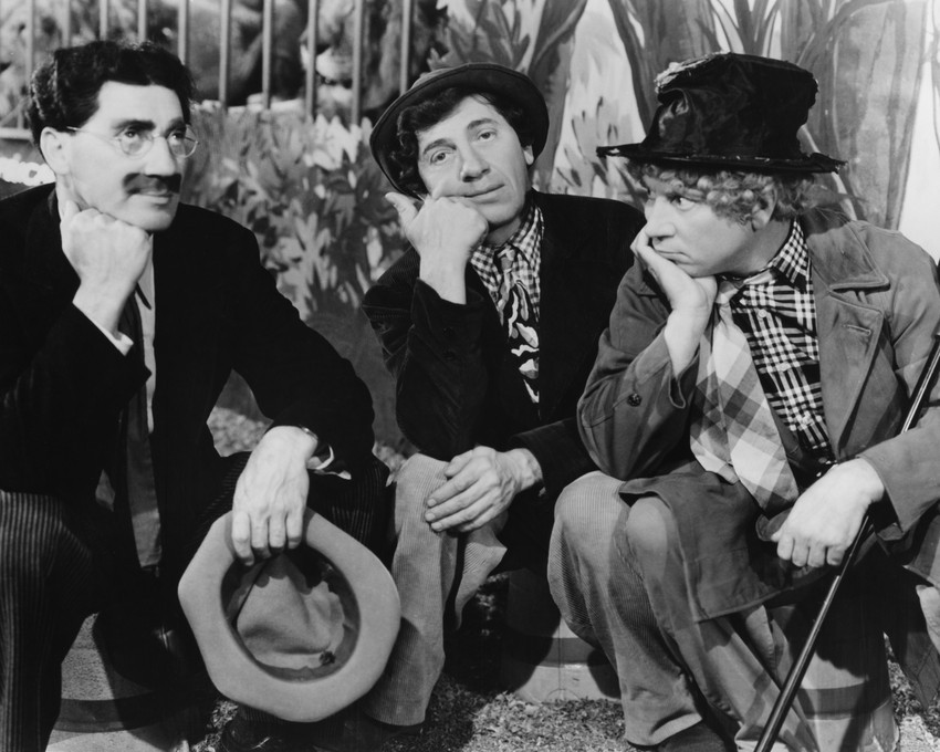 Primary image for The Marx Brothers pose all kneeling together 8x10 Photo