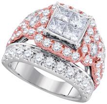 14k White Gold Princess Diamond Cluster Bridal Wedding Engagement Ring 4... - $5,092.00