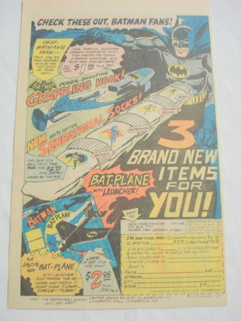1977 Ad Batman Toys-Grappling Hook, Socks, Bat-Plane