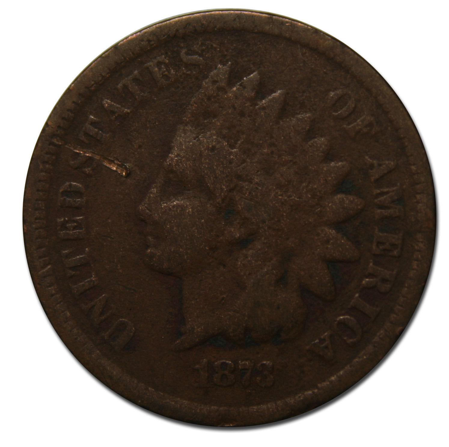 1873 One Cent Indian Head Penny Coin Lot# MZ 3780