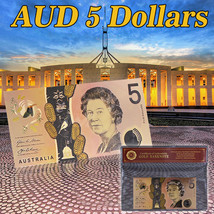 WR 2016 New Australia 5 Dollars Color Gold Polymer Banknote QEII AUD Col... - $3.68