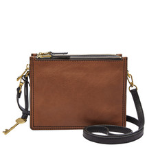 Fossil Campbell Brown Leather/Polyester Zipper Closure Crossbody  - $279.99