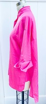 Who What Wear Womens XL Top Fuchsia  Button-Up Short Sleeve Polyester Tunic - $29.00