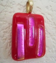 "Handcrafted Blown Glass Pendant Red Pink Iridescent Strips 1"" Square Jew... - $29.65"