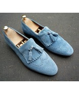 Handmade Men's Blue Suede Fringe Slip Ons Loafer Tassel Shoes - $139.99+