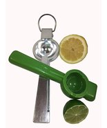 Lemon Lime Squeezer Set of 2 Aluminum and Plastic 2 Size Green and Silver - $15.00