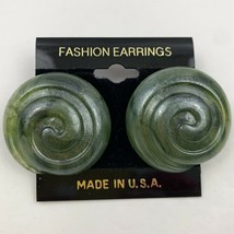Vintage Big Round Chunky Seashell Design Plastic Pierced Earrings NOS Sh... - $11.10