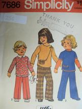 Vintage 70s Pattern Girls 5 Jiffy Top Pants Simplicity 7686 - $5.95