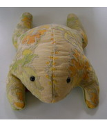 Hand Crafted, Green and Yellow Floral Tapestry Frog Decoration Pillow - $10.00