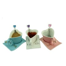 Ceramic Stylish Mug Heart Shape Coffee Cup Set For Lovers Valentines Day Gift - $29.99
