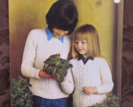 Vintage ARAN Knitting Pattern CHILDRENS Pullover SWEATERS Chest 24 - 30 - $4.95