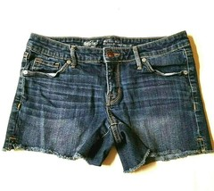 Mossimo Women's Booty Shorts 6/28 Frayed Mid Rise Distressed Blue Denim - $11.19