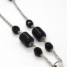 Silver necklace 925, Onyx Black Tube, Locket Stars and Circles, Waterfall image 4