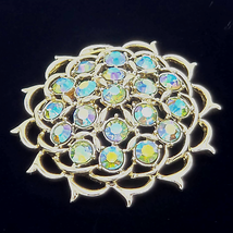Sarah Coventry Lime Light AB Aurora Borealis Rhinestone Gold Brooch Pin - $34.65