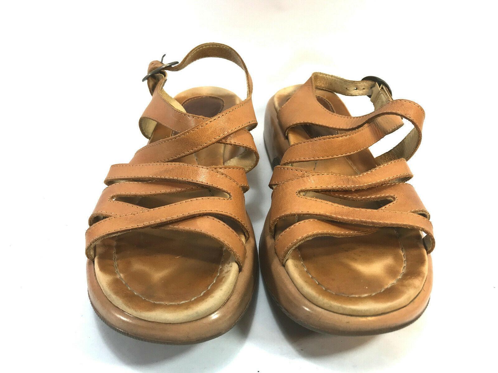 DANSKO tan brown leather gladiator ankle strap platform sandals 42 9.5 FREE SHIP