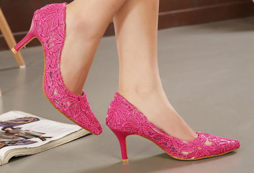 Primary image for 9255 sweet kitten heeled pumps w lace mesh cover, Size 35-39, pink