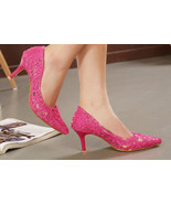 9255 sweet kitten heeled pumps w lace mesh cover, Size 35-39, pink - $39.90