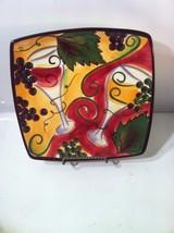 CLAY ART--WINE GARDEN SQUARE PLATTER /  PLATE--GRAPES--STONE LITE--FREE ... - $26.95