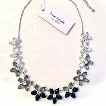 Kate Spade New York Bed Of Roses Black Crystal Flower Necklace Nwt - $90.00