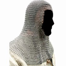 Queen Brass Chainmail Coif Zinc Butted:Chainmail Hood Knight Armour  - $99.00
