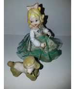 Young Lady with Flocked Poodle - Empress Porcelain Figurine - Made in Japan - $22.91