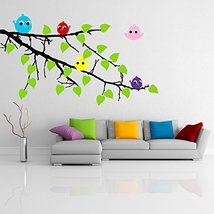 ( 94'' x 63'') Vinyl Wall Colorful Decal Tree Branch with leaves and Five Cute B - $176.73