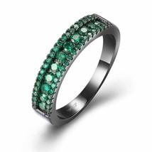 Green Swarovski Two-Lining Ring in Black Gun Plating - $17.10
