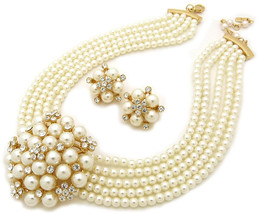 Fashion 21 5 Rows Rhinestone Accented Simulated Floral Pearl Cluster Nec... - $69.76