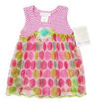 BONNIE BABY NEW INFANT GIRLS PINK DOT PRINT SKIRT STRIPED ROMPER 18M - $19.79