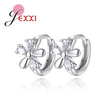 Cute Summer Flowers Style 925 Sterling Silver  Hoop Earrings With Austri... - $7.64