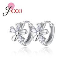 Cute Summer Flowers Style 925 Sterling Silver  Hoop Earrings With Austri... - $7.64