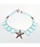 Heather Outlaw Designs Aquamarine Glass Sterling Silver Starfish Necklace - $121.25