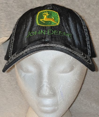 John Deere LP49279 Adjustable Black Stone Wash Denim Leaping Deer Logo