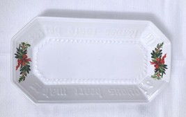 """Pfaltzgraff Xmas White Embossed Bread Platter """"A Joyous Heart Makes the Loaves.. - $9.79"""