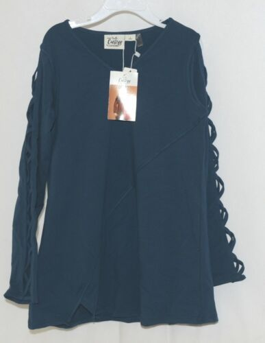 Simply Noelle Curtsy Couture Girls Cutout Long Sleeve Shirt Misty Blue Large 6X