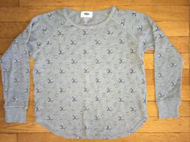 * old navy gray floral waffle knit long sleeve tee shirt medium 8 girl - $3.96