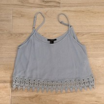 F21 Embroidered BABY BLUE CROP TOP S - $15.79